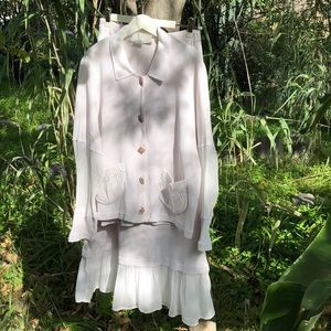 Vintage Cream cotton thermal skirt set S